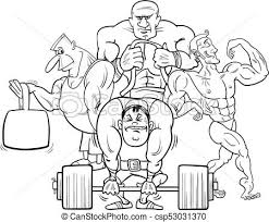 athletes at the gym cartoon color book csp53031370