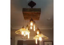 reclaimed wood beam chandelier with lamp cages