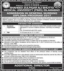 pims islamabad admission in years general nursing diploma  pims islamabad admission in 3 years general nursing diploma program 2017 for female students
