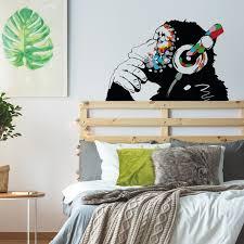 Banksy Thinking Monkey Sticker Art Vinyl Street Dj Baksy Wall Decal Headphones Chimp Music Thinker Graffiti Mural Boy Smart Decals