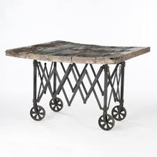 table on wheels. wood and iron table on wheels - south of market