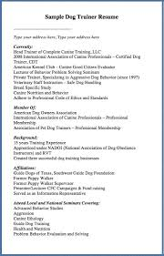 ... Sample Dog Trainer Resume Type your address here, Type your - scannable  resume examples ...