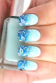 Nail Designs For June Blue Gradient With Stamping June Polish Party Nail
