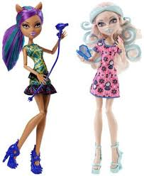 clawdeen wolf and viperine gorgon scare and make up k mart exclusive monster high dolls 2016