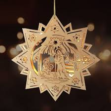 Led Holzstern 30cm Leuchtstern Weihnachtsstern Weihnachtsdeko Fensterdeko Advent