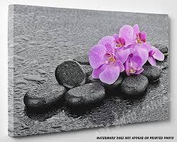 spa stones zen pink fl canvas wall