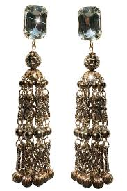 cascade chandelier stone and bead earrings
