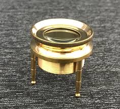 Brass Chart Magnifying Glass With Wooden Box