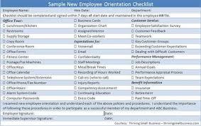 Sample Orientation Checklist For New Employee Sample New Employee Orientation Checklist Church New Employee
