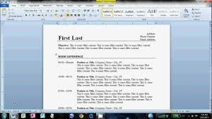 How To Make A Resume Format On Microsoft Word 2013 Resumes 2007