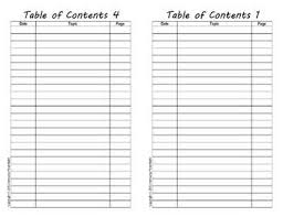 Table Of Contents For Interactive Notebooks A Fill In Form Using