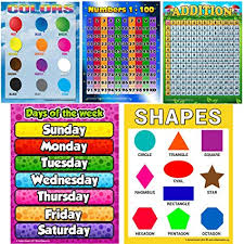 Prek Educational Posters 5 Pack Not Laminated 17x22 Large Toddler Child Bundle With Numbers 1 100 Days Of The Week Shapes Colors And Addition Chart