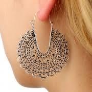 Women's <b>Vintage Ethnic</b> Carving U Shape <b>Flower</b> Basket Ear Clock ...