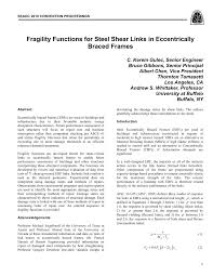 Shear Link Design Pdf Fragility Functions For Steel Shear Links In