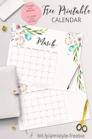 free printable planner 2017 march calendar with beautiful watercolor fl design
