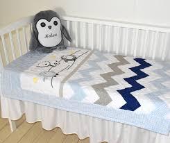chevron crib bedding penguin baby quilt gray navy blue white toddler blanket gift for new baby