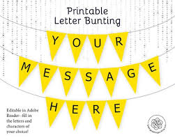 Printable Letter For Banners Yellow Letter Banner Bunting Printable Editable Banner Party Decor Party Printable Custom Banner Message Template Lemon Yellow Party
