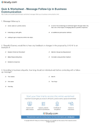 Quiz Worksheet Message Follow Up In Business Communication