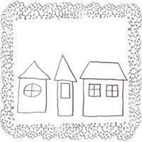 フリー素材北欧風のモノトーンのシンプルなお家とブルーブラックの
