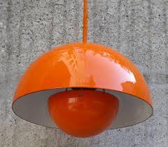 vintage orange flowerpot lamp by verner panton for louis poulsen