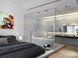 Modern bedroom with bathroom Bathroom Design Contemporary Bedroom With An Attached Glass Bathroom And Whats More Jacuzzi Too Fabulous Pinterest Contemporary Bedroom With An Attached Glass Bathroom And Whats