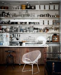 Kitchen:Delightful Industrial Kitchen Design With Stainless Steel Shelves  And Unique White Chair Idea Delightful