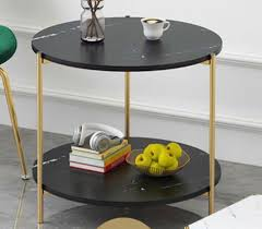 black 2 tier round marble coffee table