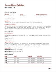 weekly syllabus template teachers syllabus color office templates