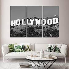 framed 3 piece hollywood sign picture canvas painting wall art home decor