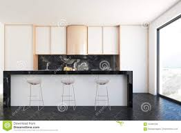 White And Marble Kitchen Bar Stock Illustration Illustration Of