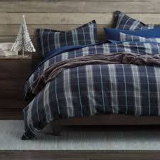 lodge plaid 5 oz yarn dyed flannel duvet cover sham recreate a