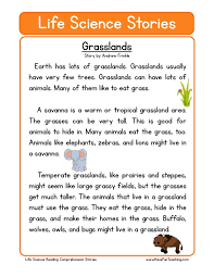 This Reading Comprehension Worksheet - Grasslands is for teaching ...