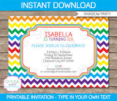 Party Template Rainbow Party Invitations Template Birthday Party
