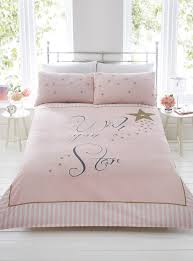 wish upon a star pink gold stripe duvet quilt cover bedding set pillowcases