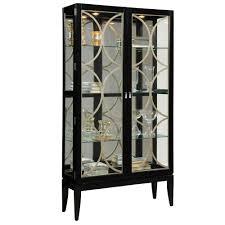 Glass Curio Cabinets With Lights Pulaski Curio Display Cabinet In Black Granite Glass Curio