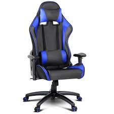 reclining office chairs. PU Leather \u0026 Mesh Reclining Office Desk Gaming Executive Chair Black Blue Chairs