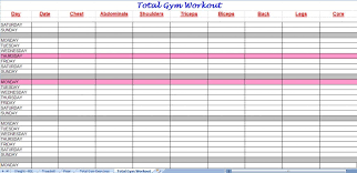 Total Gym Workout Plan Spreadsheet Throughout Gym Workout Sheet