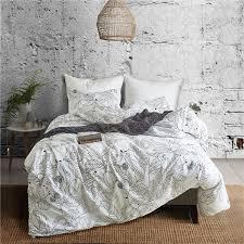 black and white leaf pattern polyester fiber pillowcase and duvet cover sets 2 bedlinen usa twin queen king bedding set blue duvet covers best comforter