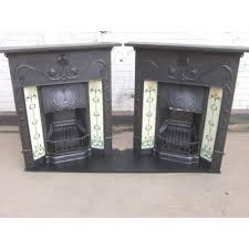 222 a b matching pair art nouveau original antique cast iron edwardian victorian fireplace with tiles the valentine