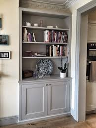 Living Room Cupboards Designs Bespoke Fitted Alcove Unit Traditional Dresser Style With Book