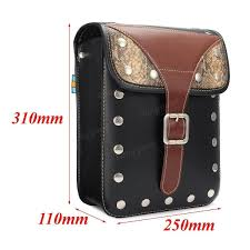 2pcs motorcycle saddlebags storage tool luggage rivet pouch pu leather