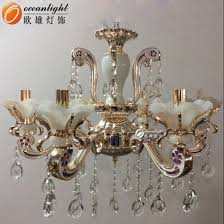 antique brass candle with glass chandelier lighting owc006