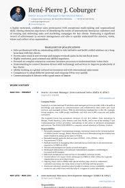 Senior Account Manager (International Sales Emea & Apac) Resume samples