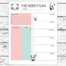 Panda Weekly Planner Printable Weekly Planner Cute Weekly Get It