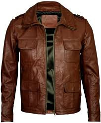 men brown four pocket leather jacket 8979422 zoom helmet