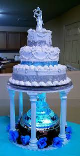 wedding cakes with fountains. Three Tiered Silver And Teal Aqua Blue Wedding Cake With Lighted Fountain Cakes Fountains