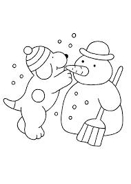Kleurplaat Winter Dribbel Maakt Sneeuwpop Winter Basteln