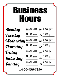Hours Of Operation Template Free Free Business Hours Template Templates At Allbusinesstemplates Com