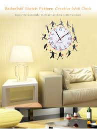 living room wall clocks. Fashion Creative Basketball Sketch Pattern Removable Wall Clock Sticker Decal For Living Room Bedroom Clocks
