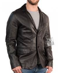 men s fitted 2 on leather blazer black front
